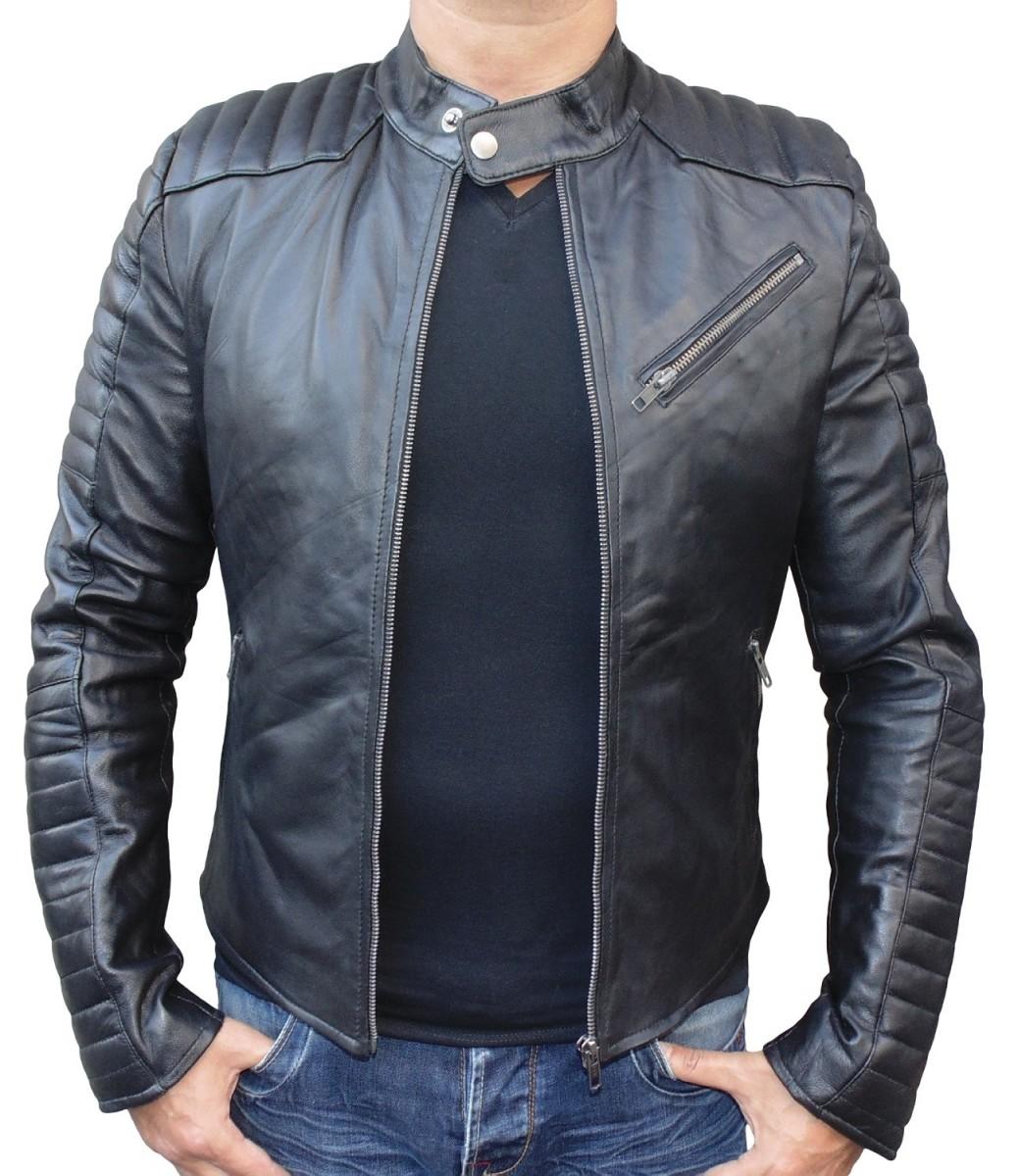 Veste cuir noir homme